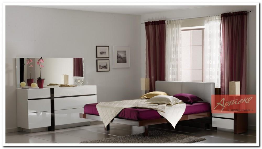 Глянцевые спальни фото