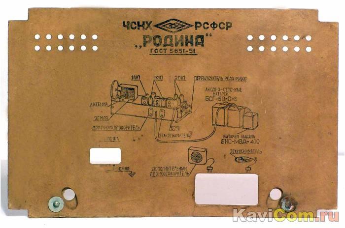 """радиоприёмника  """"Родина-52 """"- прислал Виктор Данильченко Санкт-Петербург.  Описание и схема модели в. ны и заземления..."""
