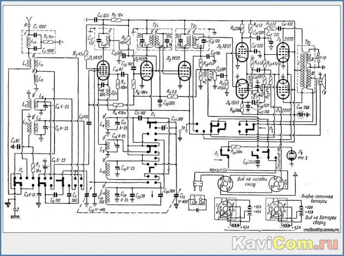"Радиоприемник  ""Родина-52 "" Схема.  Переделка приемника на питание от сети."