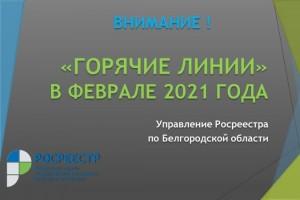 Управление Росреестра по Белгородской области проводит цикл «горячих линий» в феврале 2021 года