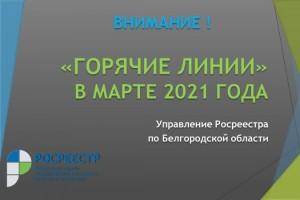 Управление Росреестра по Белгородской области проводит цикл «горячих линий» в марте 2021 года