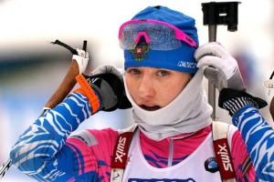 Женская сборная команда России по биатлону выиграла эстафету на Кубке мира в Антхольце